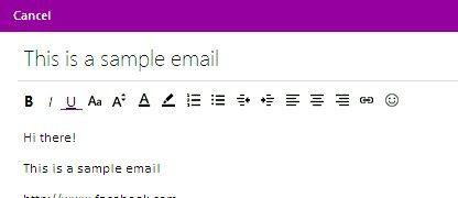 Prent getiteld Voeg hiperskakels by E-pos boodskappe in Hotmail Stap 8
