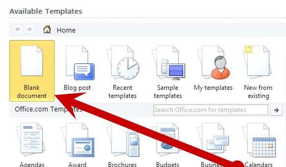 Prent getiteld Open `n nuwe dokument in Microsoft Office Word 2010 Stap 3