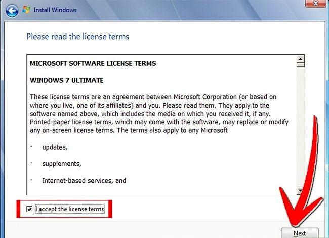 Prent getiteld Installeer Windows 7 Stap 3