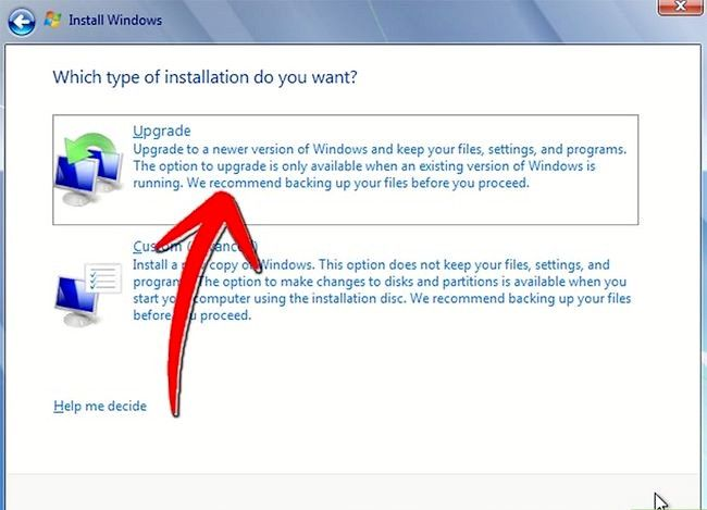 Beeld getiteld Upgrade van Windows Vista na Windows 7 Stap 9