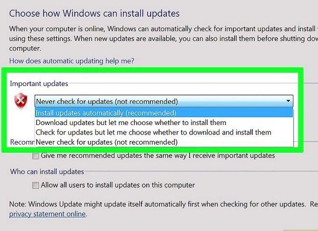 Prent getiteld Werk Windows Stap 10 op