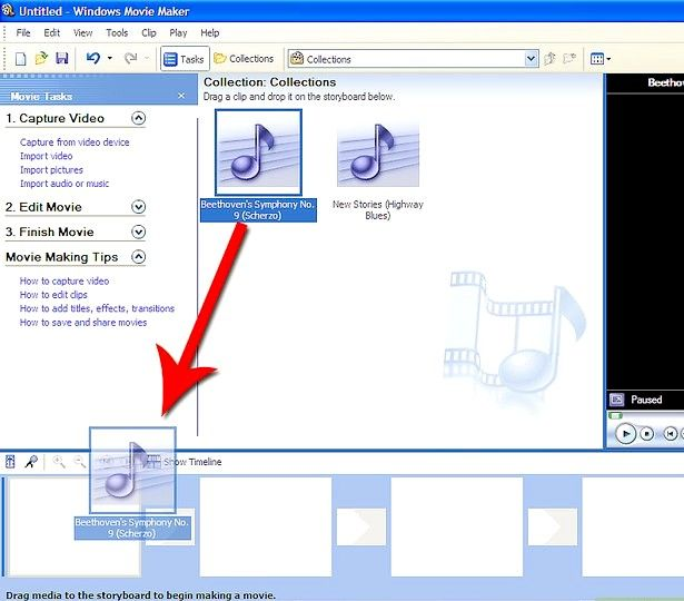 Prent titel Voeg liedjies by jou flieks op Windows Movie Maker Stap 6