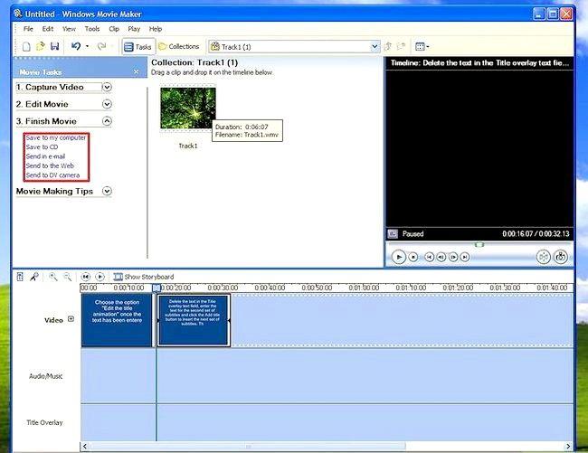 Prent titel Voeg ondertitels by `n film in Windows Movie Maker Stap 8