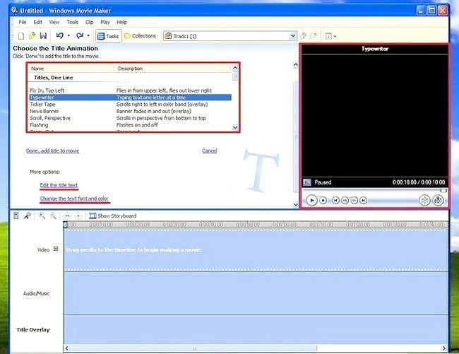 Prent getiteld Voeg ondertitels by `n film in Windows Movie Maker Stap 4Bullet1