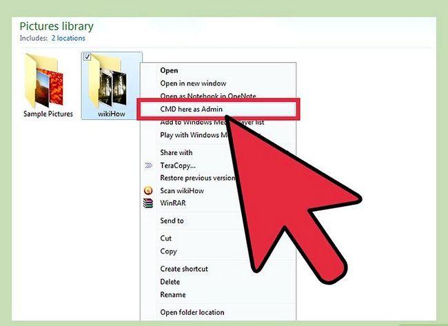Prentjie getiteld Voeg `n oop opdragprompt hier as administrateur by Snelkoppeling na die konteks kieslys in Windows 7 en Windows Vista Stap 5