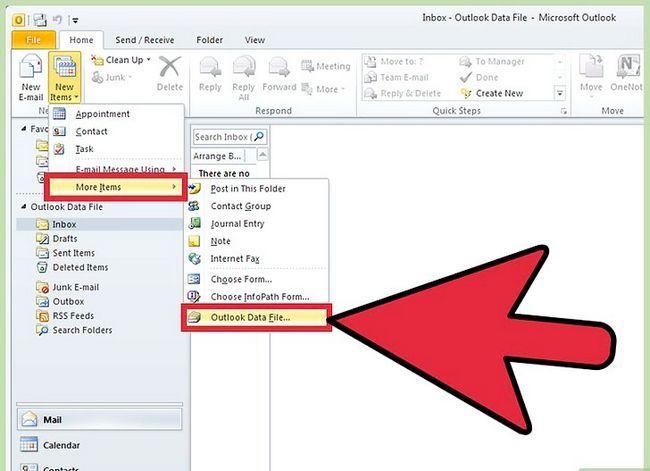 Prent getiteld Voeg `n PST by Outlook 2010 Stap 11