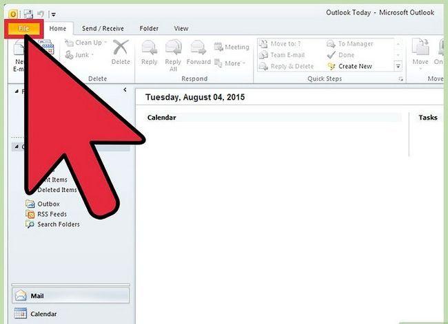 Prent getiteld Voeg `n PST by Outlook 2010 Stap 2