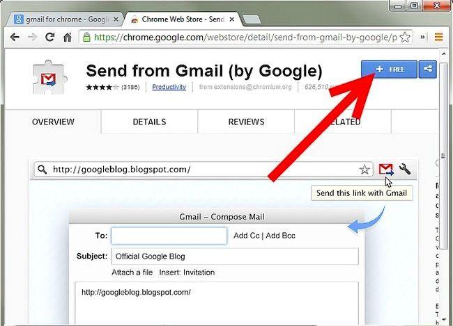 Prent getiteld Voeg `n Gmail-knoppie by Chrome Stap 2