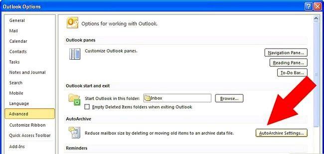 Prent getiteld Argief in Outlook 2010 Stap 13