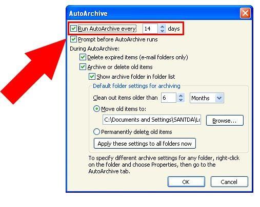 Prent getiteld Argief in Outlook 2010 Stap 14
