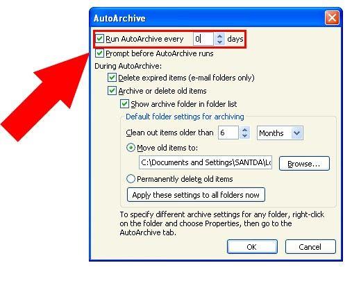 Prent getiteld Argief in Outlook 2010 Stap 14Bullet1