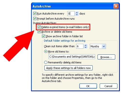 Prent getiteld Argief in Outlook 2010 Stap 15