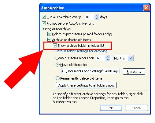 Prent getiteld Argief in Outlook 2010 Stap 15Bullet2