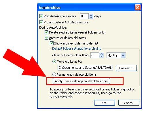 Prent getiteld Argief in Outlook 2010 Stap 15Bullet4