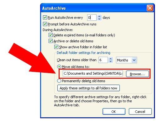 Prent getiteld Argief in Outlook 2010 Stap 16