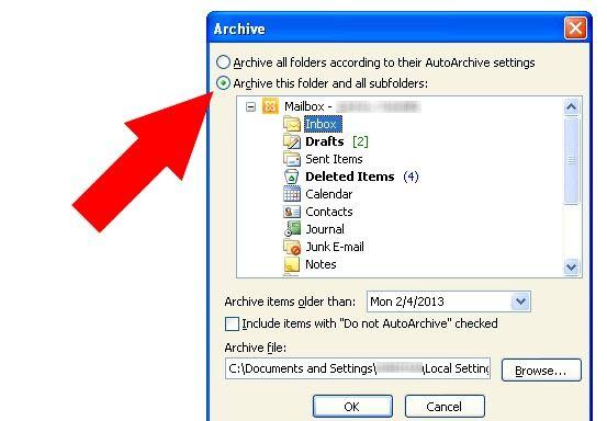 Prent getiteld Argief in Outlook 2010 Stap 5