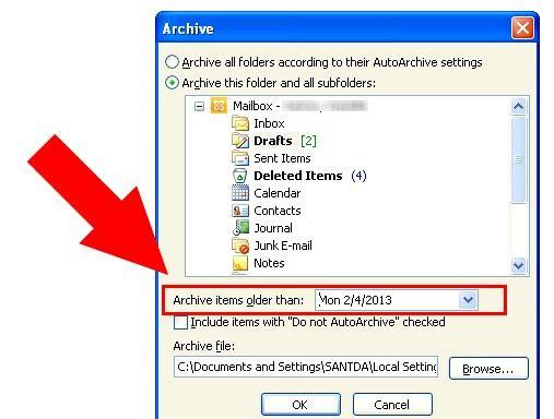 Prent getiteld Argief in Outlook 2010 Stap 7