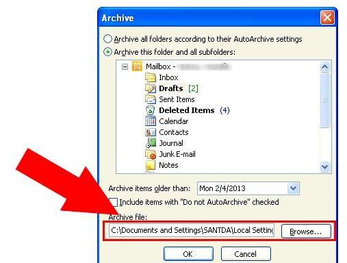 Prent getiteld Argief in Outlook 2010 Stap 8