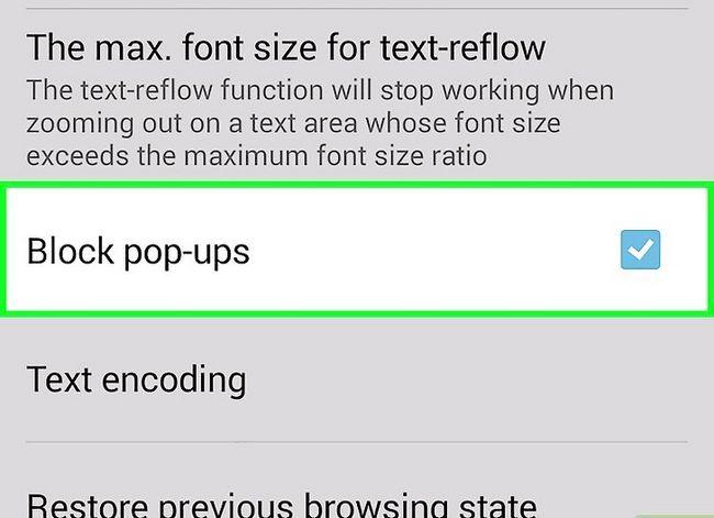 Prent getiteld Kry die Android-blaaier om pop-ups te blokkeer Stap 5