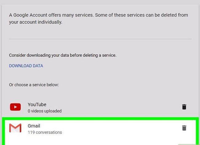 Prent getiteld `n Google of Gmail rekening stap 18 verwyder