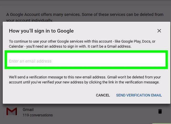 Prent getiteld `n Google of Gmail rekening stap 19 verwyder