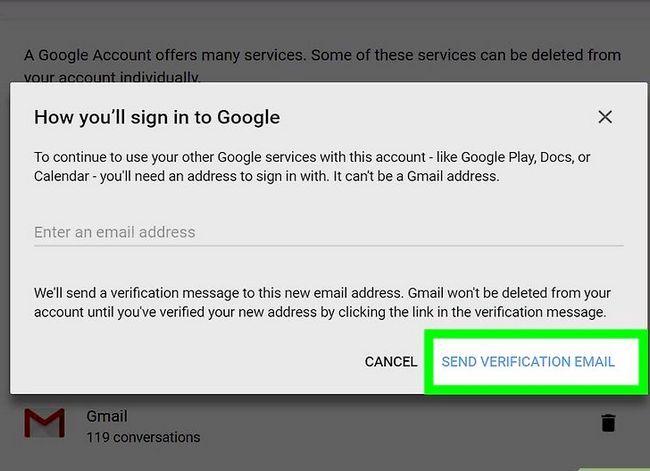 Prent getiteld `n Google of Gmail rekening stap 20 verwyder