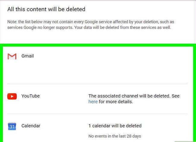 Prent getiteld `n Google of Gmail rekening stap 7 verwyder