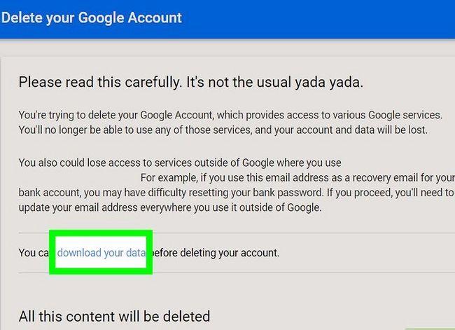 Prent getiteld `n Google of Gmail rekening stap 8 verwyder