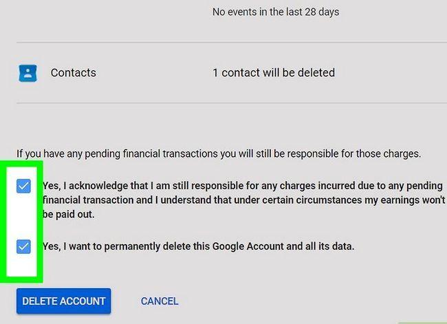 Prent getiteld `n Google of Gmail rekening stap 9 verwyder