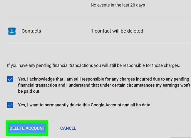 Prent getiteld `n Google of Gmail rekening stap 10 verwyder