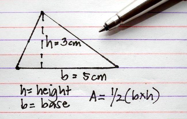 Prent getiteld Bereken die oppervlakte van `n driehoek. Stap 3