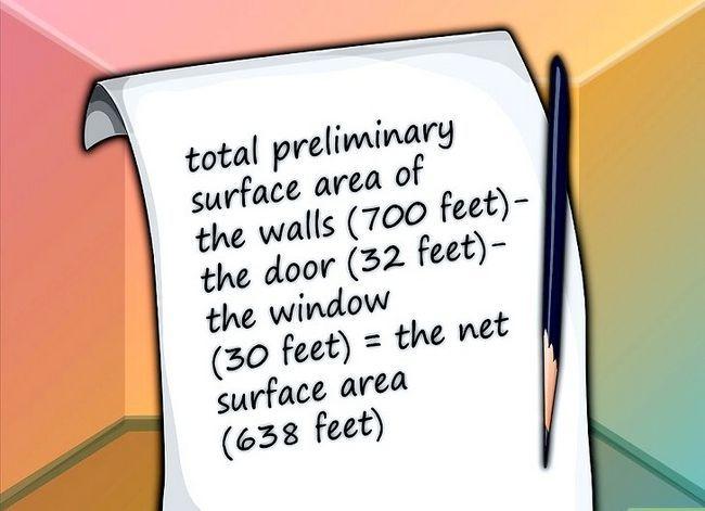 Prent getiteld Bereken hoeveelheid verf om in kamer te verf Stap 5