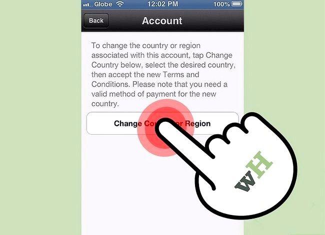 Prent getiteld Verander iTunes Store Land Streek Stap 13
