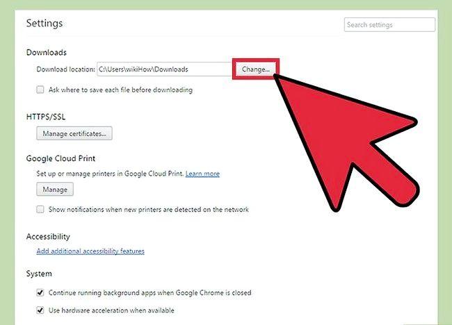 Prent getiteld Verander Google Chrome Downloads Stellings Stap 5