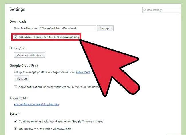 Prent getiteld Verander Google Chrome Downloads Stellings Stap 6