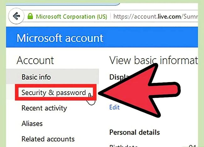 Beeld getiteld Verander `n Hotmail-rekening wagwoord Stap 4