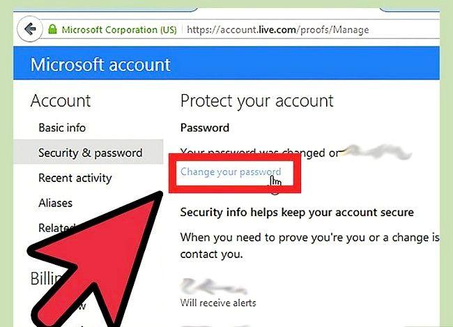 Prent getiteld Verander `n Hotmail rekening wagwoord Stap 6