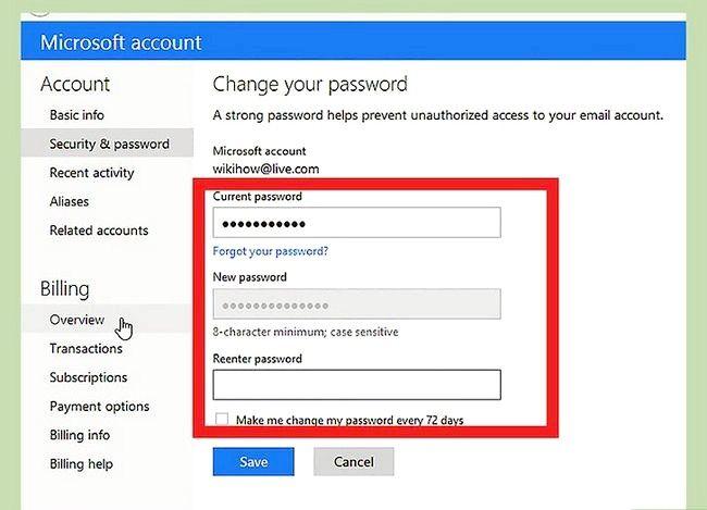 Prent getiteld `n Hotmail-rekening wagwoord verander Stap 7