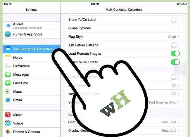 Prent getiteld Verander die e-pos handtekening op `n iPad Stap 2