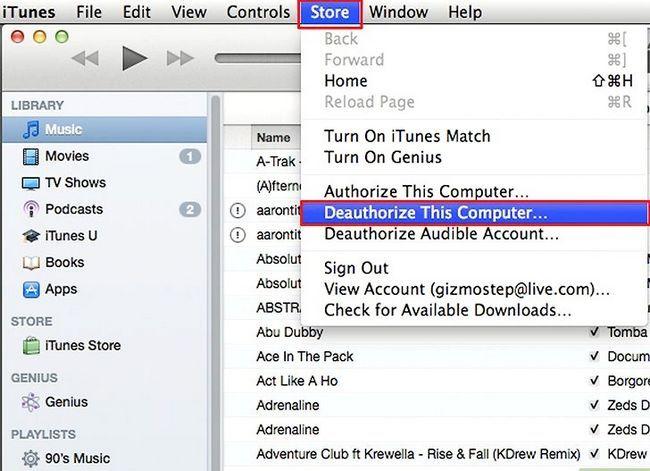 Prent getiteld Verander gemagtigde rekenaars in iTunes Stap 1Bullet2