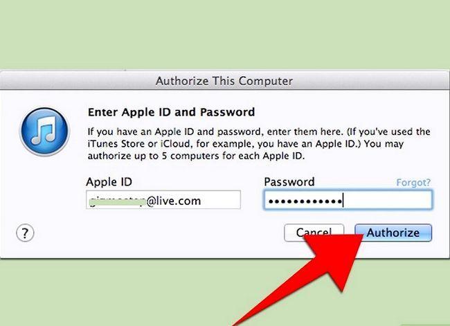 Prent getiteld Verander gemagtigde rekenaars in iTunes Stap 3Bullet3