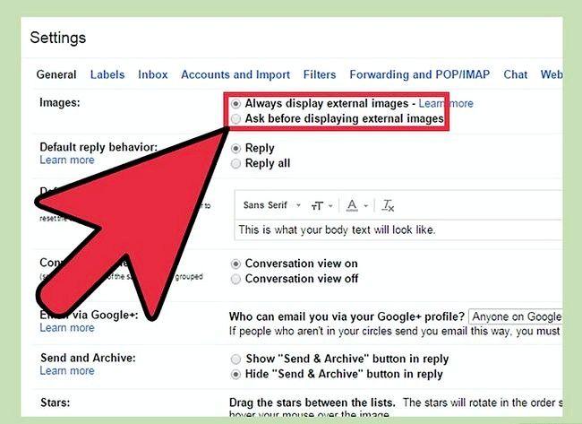 Prent getiteld Verander die eksterne beeldinstellings op Gmail Stap 5