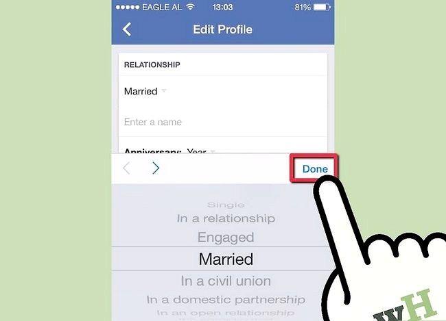 Prent getiteld Verander jou verhoudingsstatus op Facebook Stap 6