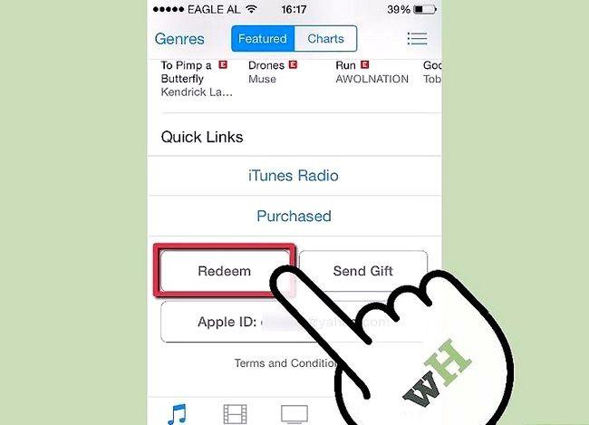 Beeld getiteld Los `n iTunes-geskenkkaart op `n iPod Touch Stap 2
