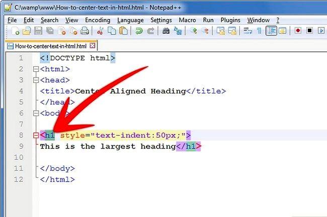Prent getiteld Sentrum teks in HTML Stap 7Bullet1