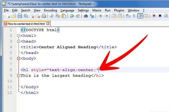 Prent getiteld Sentrum teks in HTML Stap 8