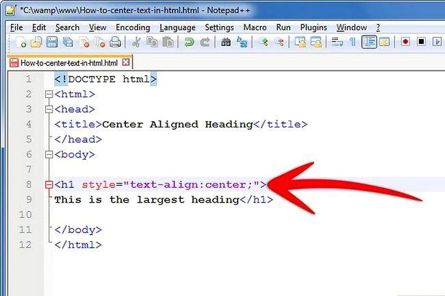 Prent getiteld Sentrum teks in HTML Stap 9