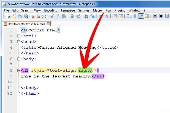 Prent getiteld Sentrum teks in HTML Stap 9Bullet1