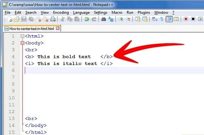 Prent getiteld Sentrum teks in HTML Stap 1Bullet2
