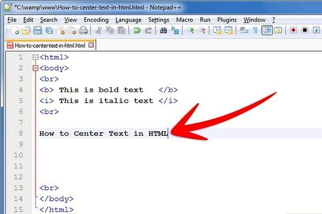 Prent getiteld Sentrum teks in HTML Stap 2